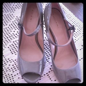 Gray patent leather heels